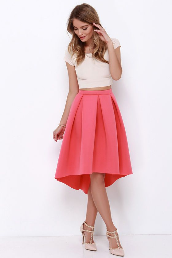 The High Seas, Low Tide Coral High-Low Padded Midi Skirt is at the top of our list of must-haves! Thick and stretchy neoprene fabric shapes a high, elastic waistband above box pleats that lend some epic volume to this pretty midi skirt with a trendy high-low hem. Unlined. 95% Polyester, 5% Spandex. Hand Wash Cold.