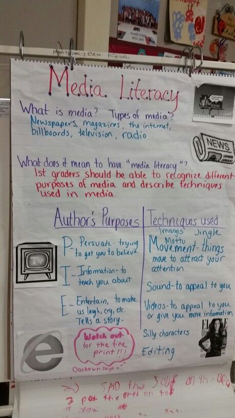 Media literacy anchor chart