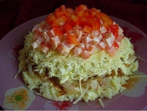 Картофельный салат - очень простой и вкусный. Готовится из простых продуктов. Ингредиенты. Рецепт сытного салата из картофеля.