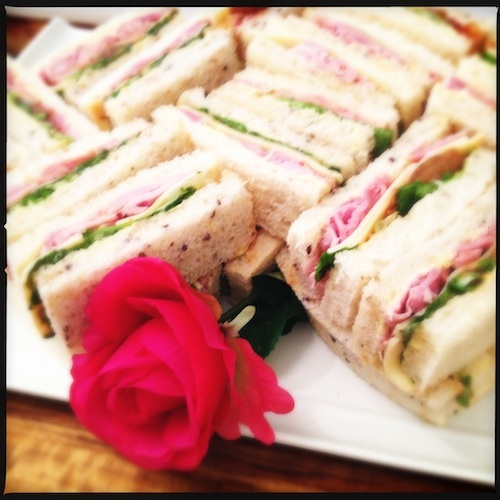 Gourmet finger sandwiches with a touch of romance.