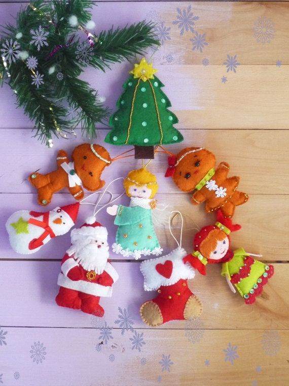 Christmas tree ornaments, Christmas ornaments,Felt ornament, cute Christmas favors, Christmas felt Decor, New Year Decor, Tree Decoration  These cute Christmas decorations will delight you and your family for Christmas. They are made with lots of love and a smile. Christmas - it is my favorite holiday, and I hope my products bring joy to every home.  Christmas toys of felt beautifully decorate your Christmas tree for Christmas! Dress up the Christmas tree with the kids! 8 set of Christmas…