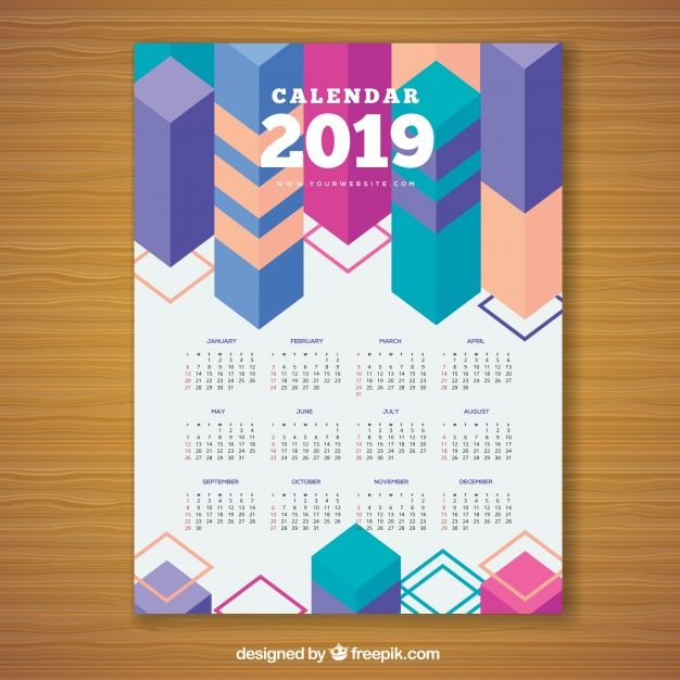 Calendario Vectorizado.Calendario Geometrico Colorido Para 2019 Vector Gratuito