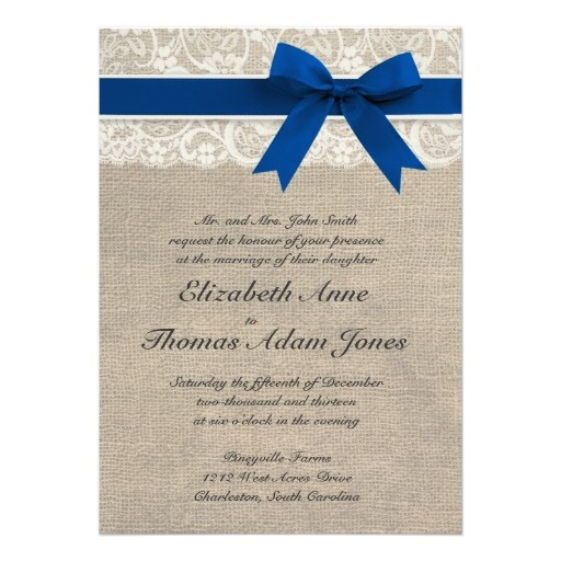 Ivory Lace Royal Blue Burlap Wedding Invitation... It'd be better without the bow, maybe a belly band?