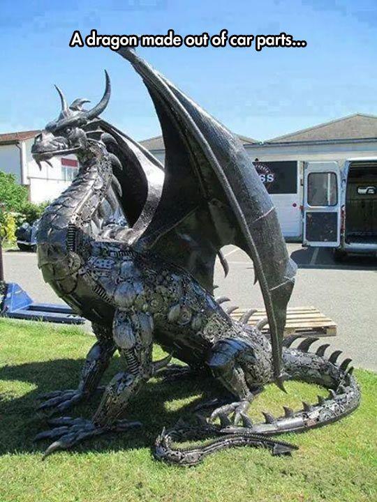Metal Dragon Sculpture #Art #AnimalArt  #dragon