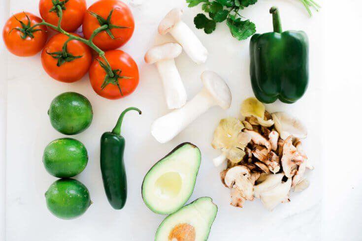 Vegetarian ceviche ingredients