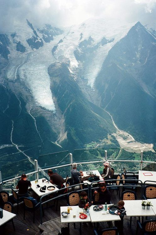 """view of the Mont Blanc at """"Le Panoramique"""" restaurant in Le Brévent, Chamonix, France, by Lu Chien-Ping"""