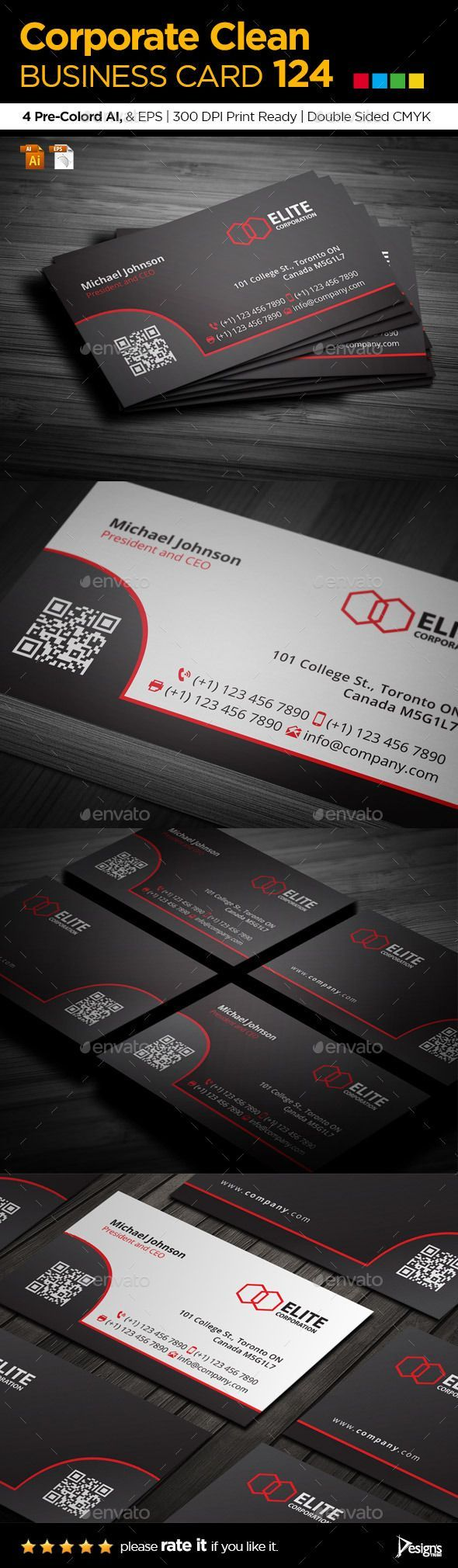 Simple and Clean Business Card 124 — Vector EPS #qr code #stylish • Available here → https://graphicriver.net/item/simple-and-clean-business-card-124/9161591?ref=pxcr