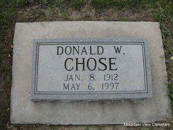 Donald W Chose jan 8 1912 to May 6 1997 mountain view cemetery Livingston Montana