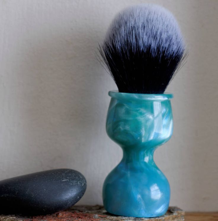 Shaving Brush - Hand-Made with hand-poured Blue and Sea and Silver Resin Handle and a Choice of Knots by LoveYourShave on Etsy