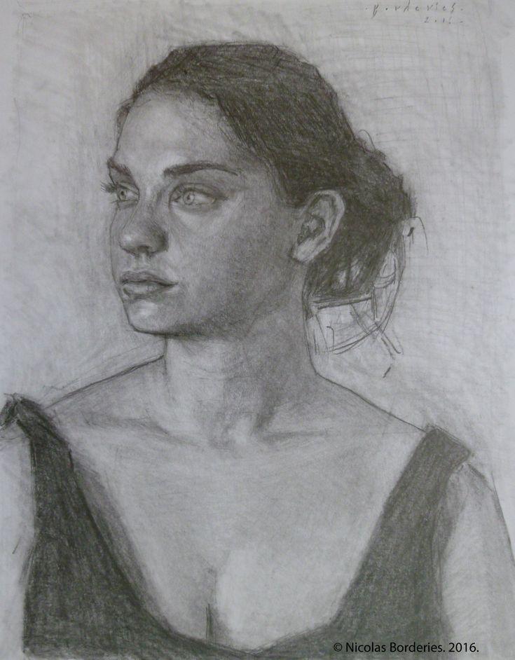 Portrait d'Emeline, graphite on paper, 28,5 x 38,5 cm, 2016.