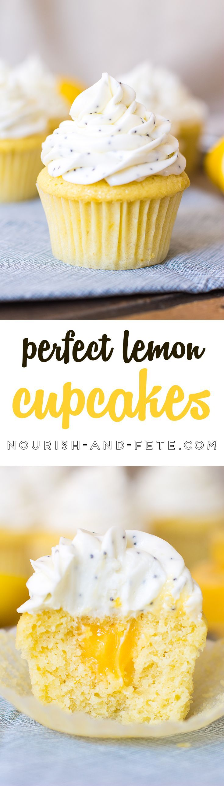 Cheerful lemon cupcakes filled with silky smooth lemon curd and finished off with a sweet layer of cream cheese poppy seed frosting - perfect for a sunny sweet treat! via @nourishandfete