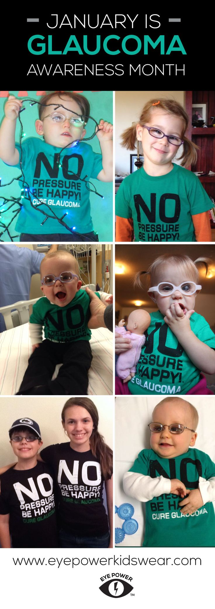 January is Glaucoma Awareness month! Check out Eye Power Kids Wear and read some stories about some amazing kids and their fights with Glaucoma! www.eyepowerkidswear.com