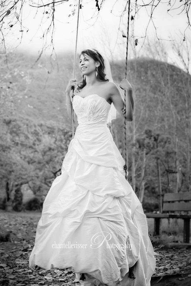 Playful Bride on a swing in Black & White | Weddings - Chantelle Visser Photography