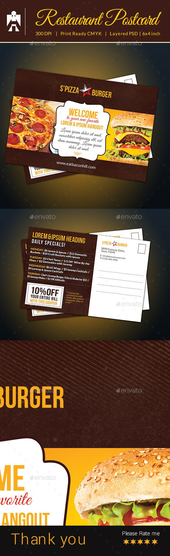 27 best printed material images on pinterest postcard design restaurant postcard with coupon code fandeluxe Gallery