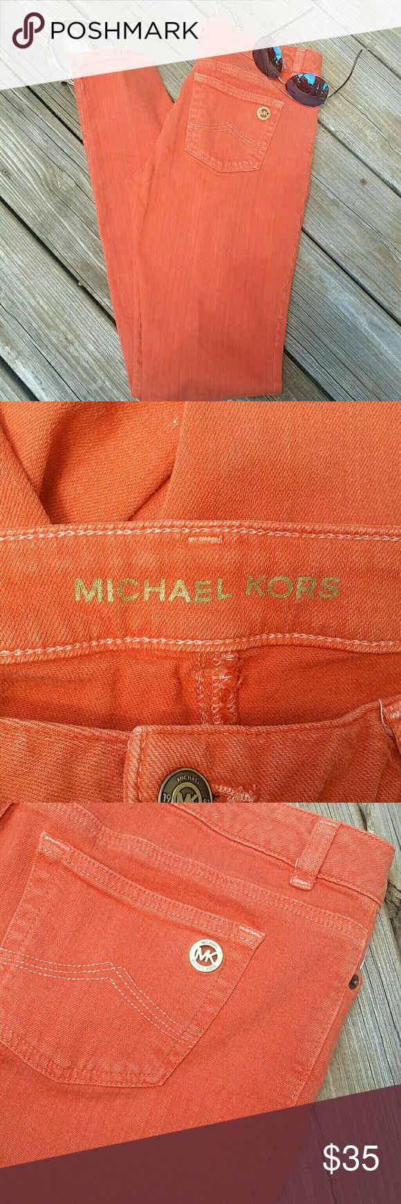 "Michael Kors Orange Skinny Jeans Size 6 Beautiful Pair Of Orange Michael Kors Skinny Jeans Size 6 Stretch Measurements Taken Lying Flat Waist 16"" Rise 8"" Inseam 31"" Leg Opening 5.5"" Gently Used, No Flaws Michael Kors Jeans Skinny"