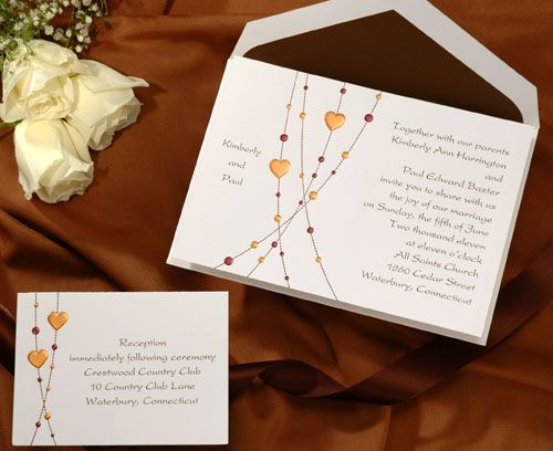 """Heart Wedding Invitations Set by Wedding Invitations -The Office Gal This fun bright white invitation has mocha and bronze beads that swirl down the side. Your names are feature on the side to add to the very """"mod"""" look."""