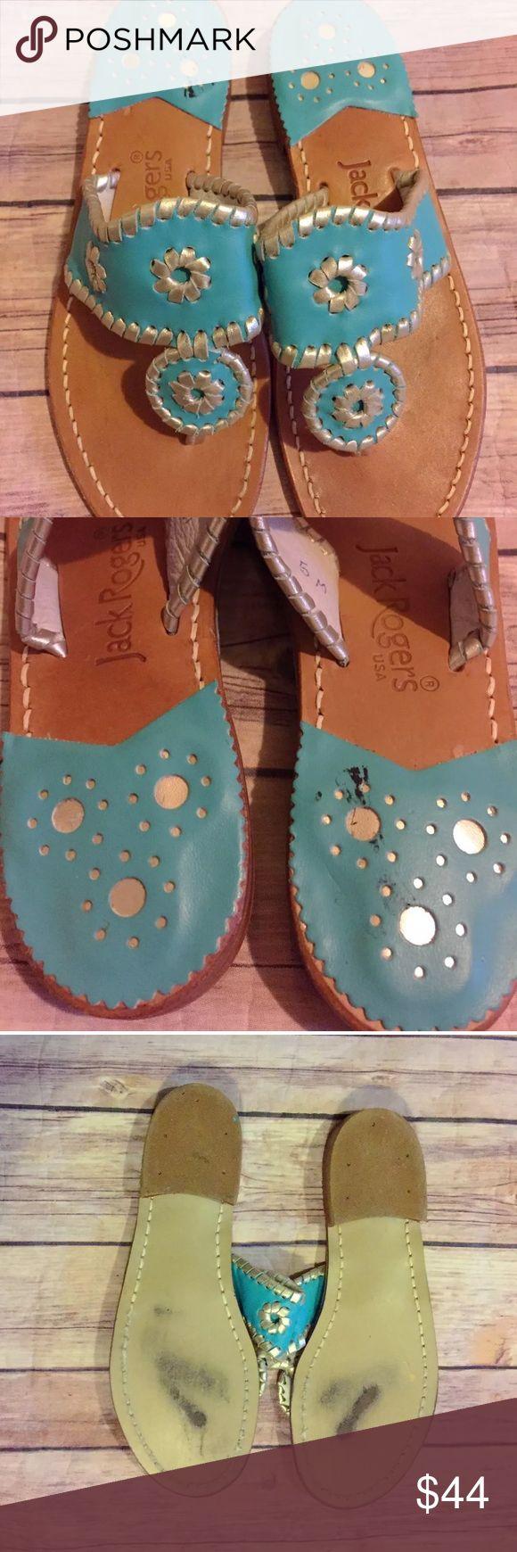 Jack Rogers Navajo Sandals Blue Flip Flops Excellent overall gorgeous blue Jack Rogers Shoes Sandals