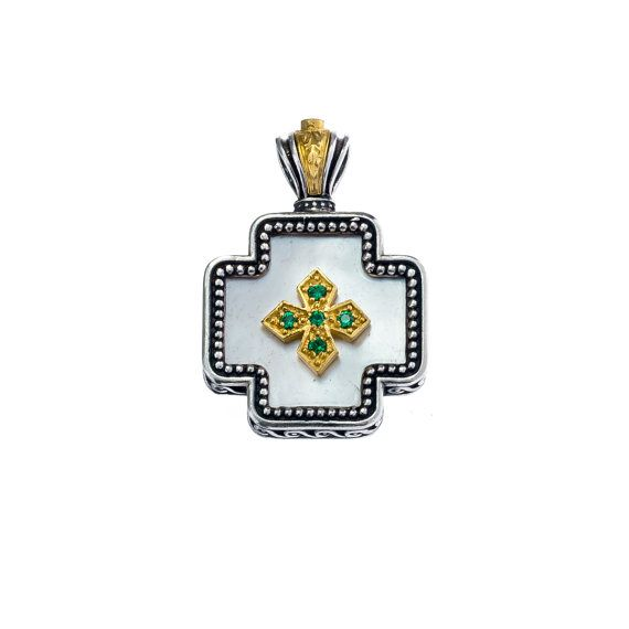 square sterling silver cross with gold by Gerochristojewelry