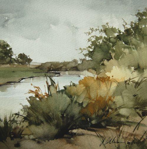 "Upper Ranch Creek ($1,500) by Joseph Alleman Watercolor ~ 8"" x 8"""