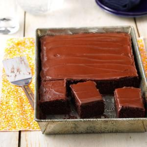 One-Bowl Chocolate Cake Recipe from Taste of Home -- shared by Coleen Martin of Brookfield, Wisconsin