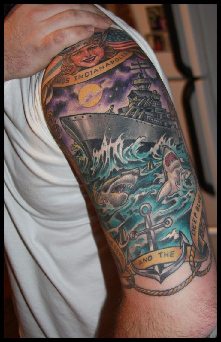USS Indianapolis Sleeve by Hannah Aitchison @ Deluxe Tattoo in Chicago