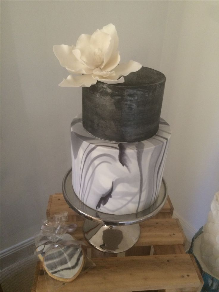 Marbled and gun metal lustre cake by Vanilla Rose Cakery