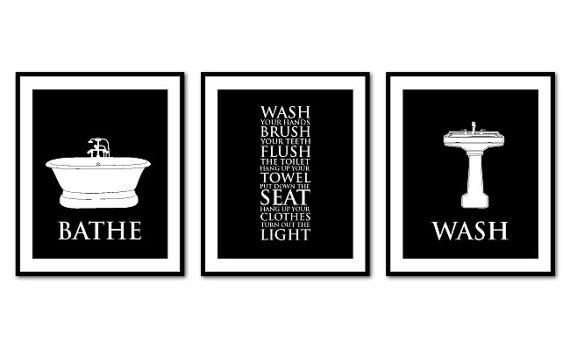 Bathroom wall art trio bathroom rules bathe wash flush typography art prints vintage bathroom wall decor you choose colors