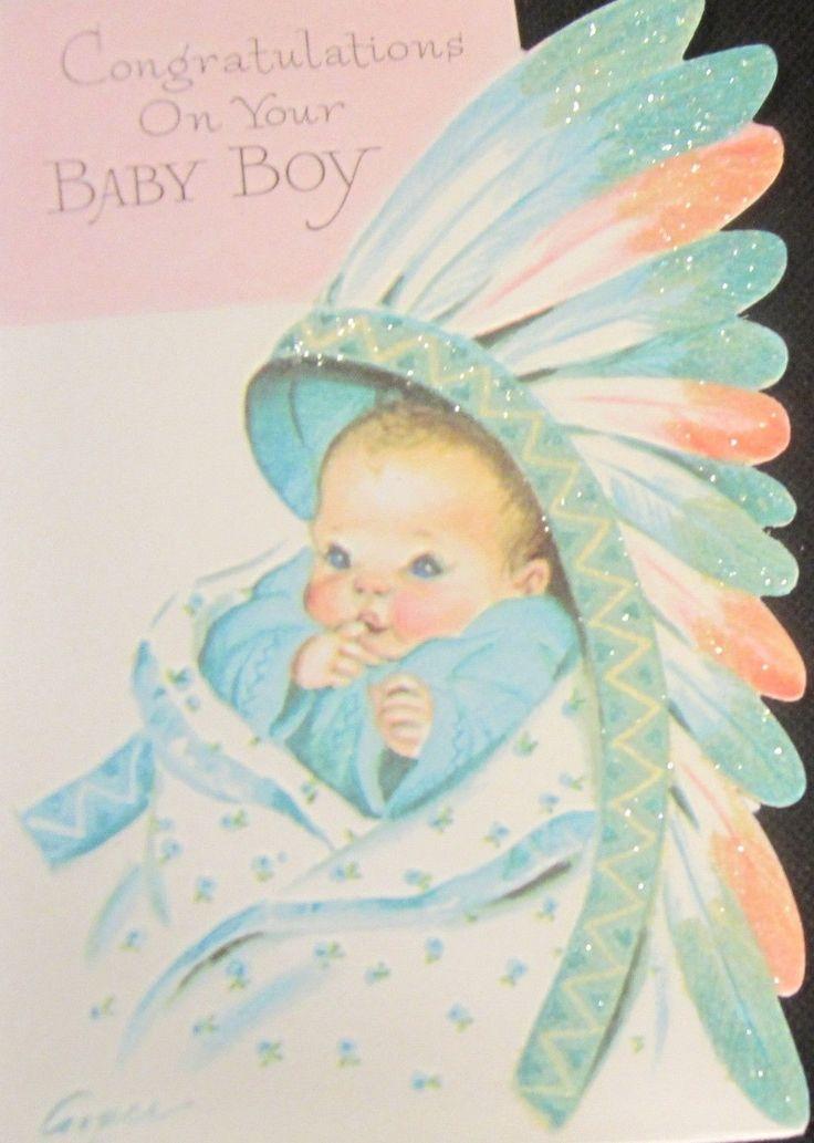 Card Baby Boy Indian Head Dress Marjorie Cooper