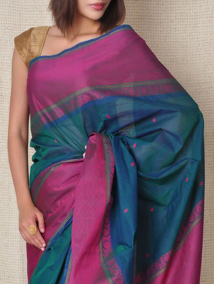 Buy Teal Blue & Fuchsia Kanchi Cotton Saree Bootis Online at Jaypore.com