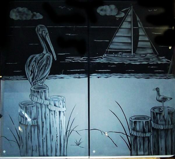 Etched glass shower doors, pelican sail boat beachy type ...