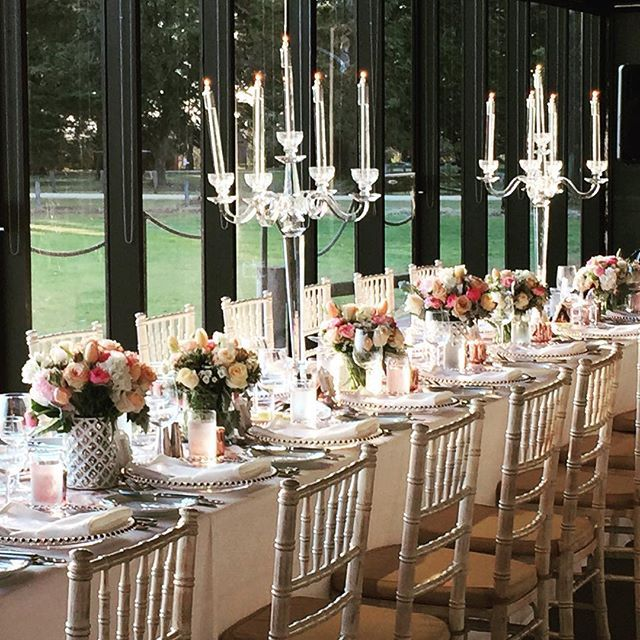 Tablescape at the Pavilion, Mansion Hotel and Spa at Werribee Park| Glass candles | Crystal candelbras |Props, creative direction and wedding styling by One Wedding Wish