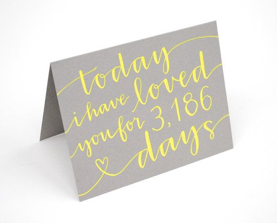 Personalized Greeting Card, Today I Have Loved You For So Many Days, Handwritten, Modern Calligraphy, Your Choice of Colors, Custom, Single via Etsy