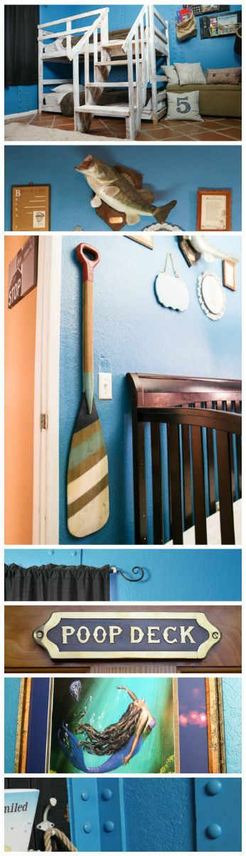 Creating a nautical kids room with found items, new decor and riveted walls