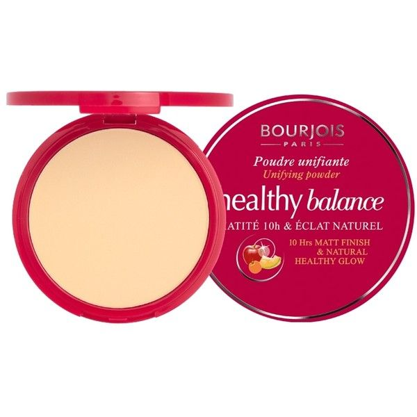 Bourjois Healthy Balance Powder (24 BAM) ❤ liked on Polyvore featuring beauty products, makeup, face makeup, face powder, beauty, cosmetics, beige and bourjois