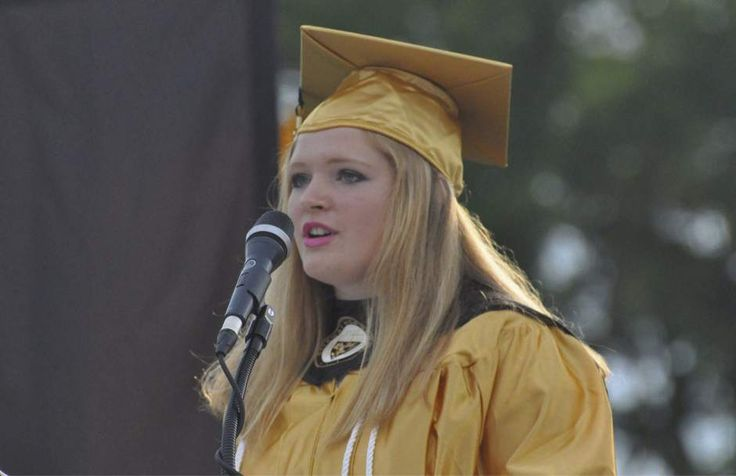 11 / 14 Lillian DeDomenic | For The Tribune-Review Madison Lewis, senior class president, delivers the welcome address during Gateway High School commencement exercises in Antimarino Stadium on Thursday evening, June 2, 2016.