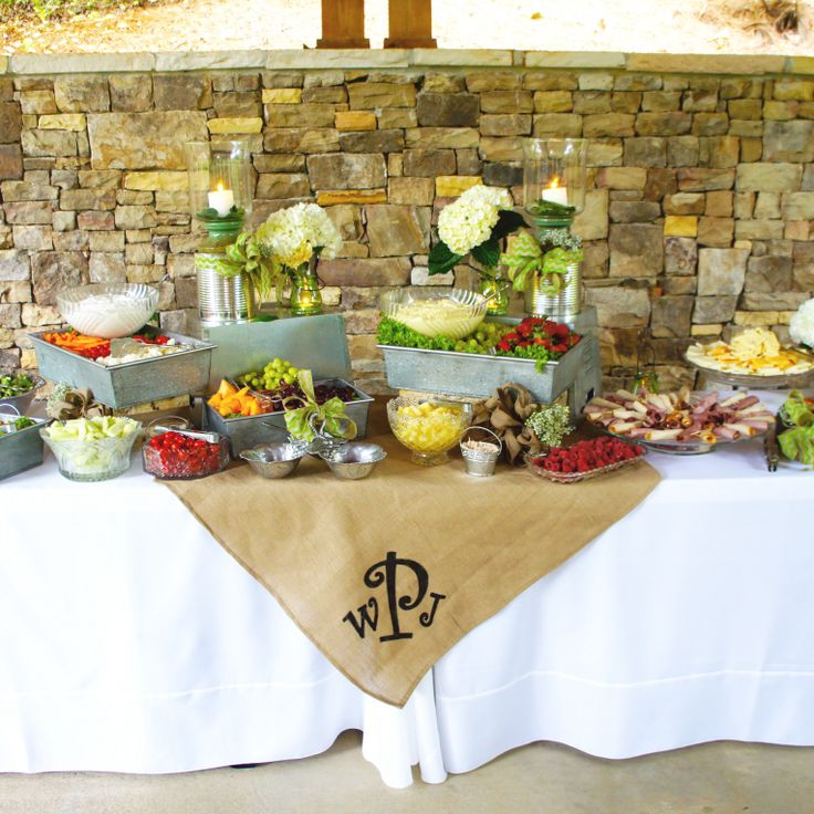 Wedding Food Display...rustic, Simple, Burlap, Hydrangeas