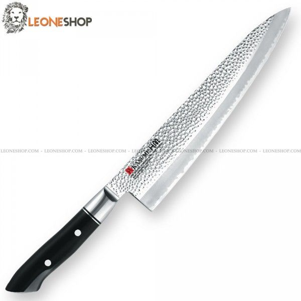"KASUMI HAMMERED Gyuto Chef Knife K-78024, professional japanese knives with heart of the blade in V-GOLD No. 10 Stainless Steel High Carbon - Hardness on the edge HRC 59/60 - Outside are made of 401 stainless steel with Hammered finishing - KASUMI H.M. Hammer Design which creates a non-stick effect - Blade lenght 9.5"" - The VG10 steel is highly resistant to oxidation, has a high hardness and therefore makes the cutting edge of the knife really exceptional - Handle made of black POM hand…"