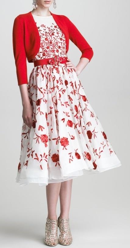 Oscar de la Renta Bolero and Sleeveless Embroidered Dress