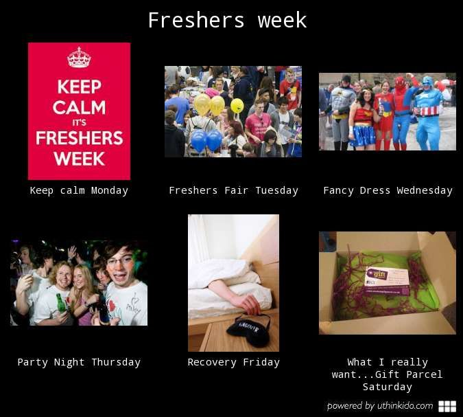 Freshers' week; day by day