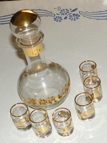 $55 Mid Century Vintage Hand Blown Decanter Set Cordial Sherry Liquor Glasses Gold | eBay