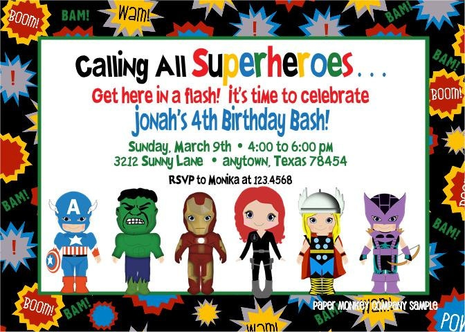 Avengers Superhero Birthday Invitations | AJs Avengers Birthday | Pinterest | Superhero birthday ...