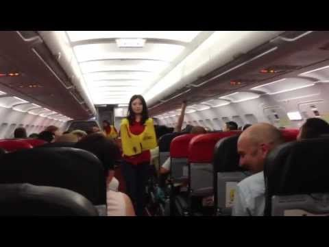 Funniest safety briefing ever with sexy flight attendant!!! Air Asia AK-...