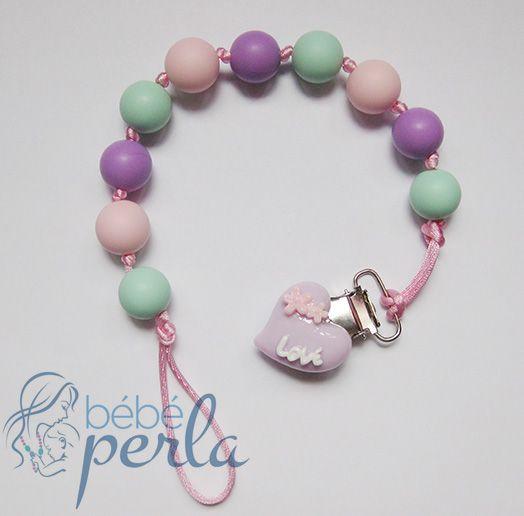 Silicone Pacifier clip - Sweet Heart Kylie www.bebeperla.com