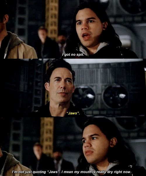 """""""I'm not just quoting 'Jaws'. I mean my mouth is really dry right now"""" - Cisco and Wells #TheFlash"""