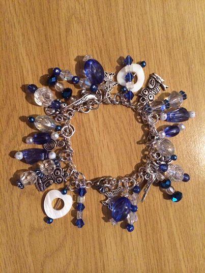 Blue and white charm bracelet