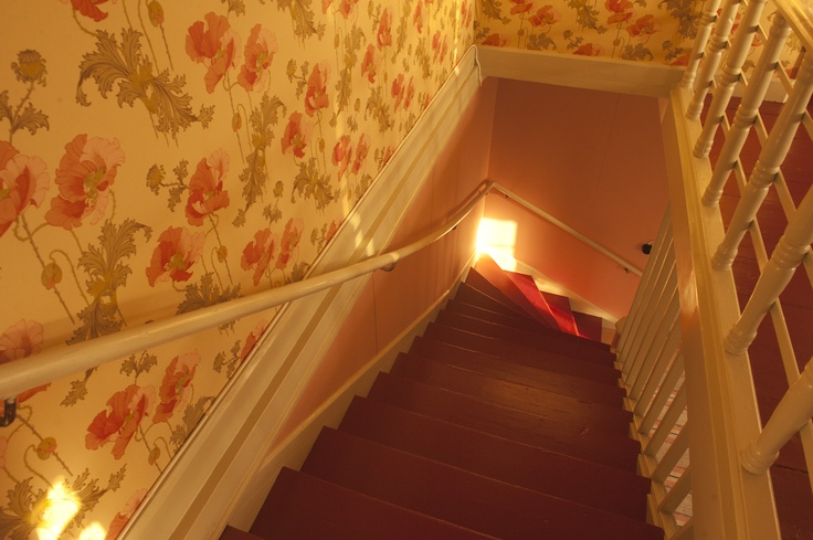 red stairs, wallpaper