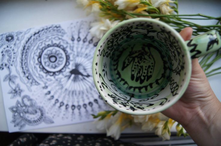 handmade ceramic cup with the hindi patterns