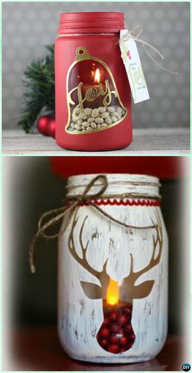 DIY Stenciled Mason Jar Candle Holder Christmas Lights Instruction - DIY #Christmas Mason Jar Lighting #Craft Ideas More