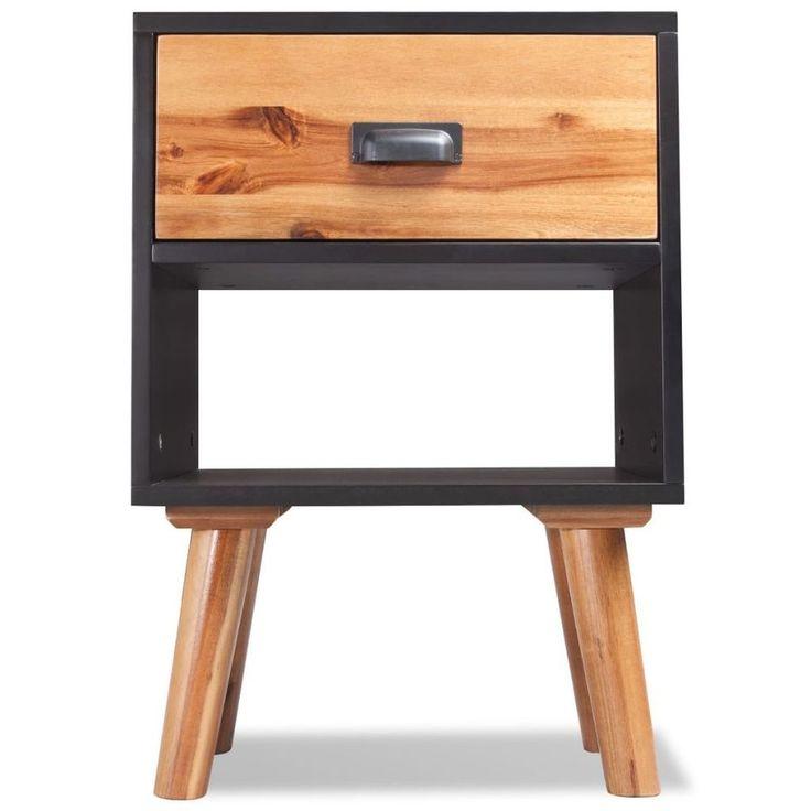 Home Bedside Cabinet Table Bedroom Nightstand Wood Furniture 2 Pcs Modern Black #HomeBedsideCabinet #Modern