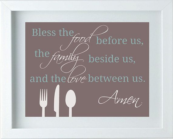 Kitchen Decor Kitchen Art Bless The Food Sign Family Love
